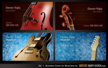 Conjunto de tarjetas de visita de músicos