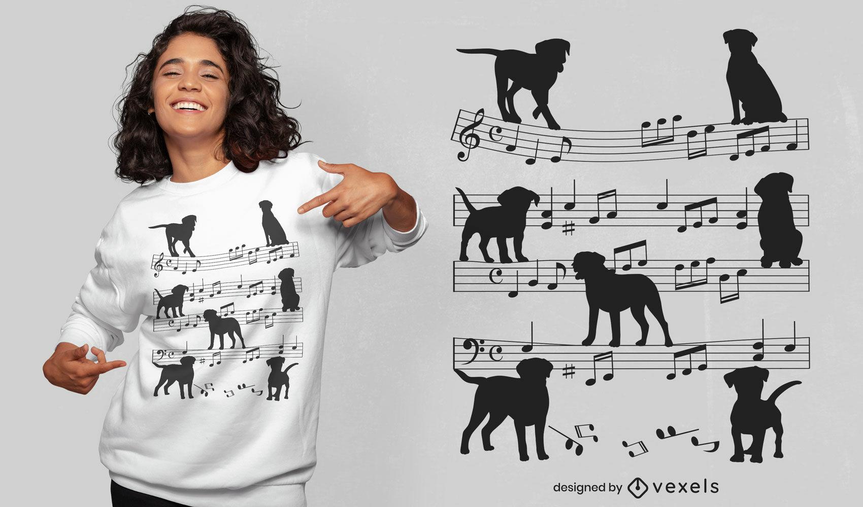 Perros en diseño de camiseta de hoja de notas musicales.