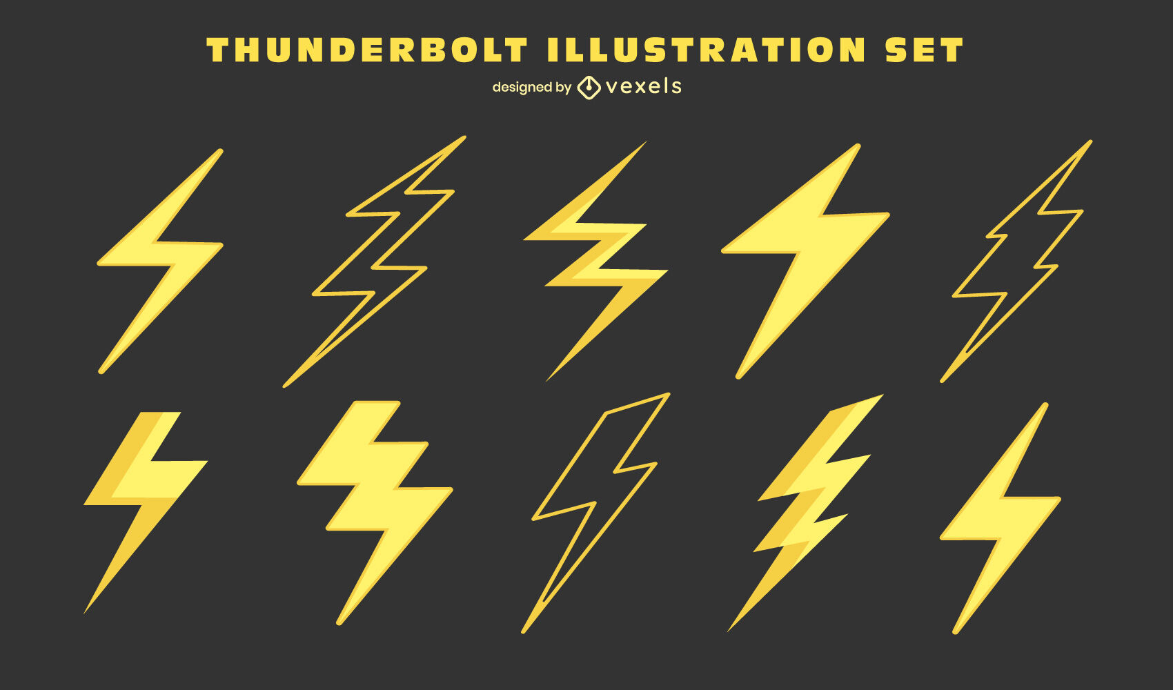 Lightning bolts thunderstorm weather set