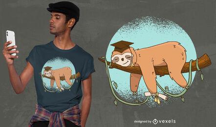 Pereza graduada durmiendo en diseño de camiseta de rama.