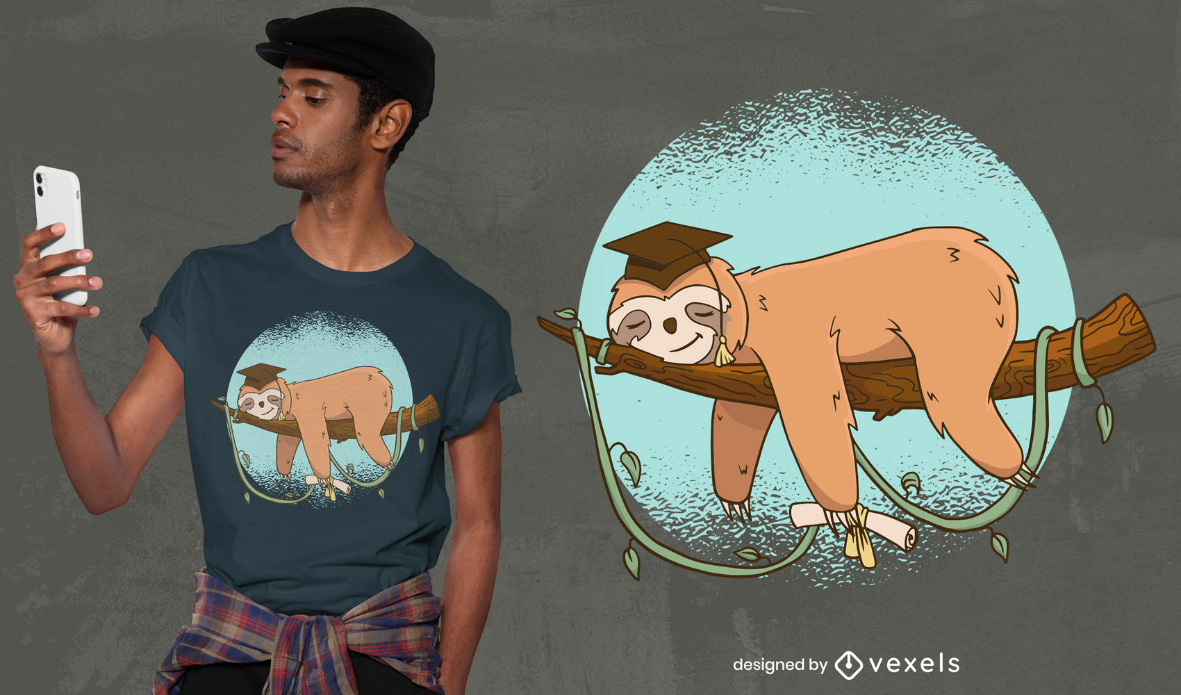 Preguiça graduada dormindo no ramo de design de camiseta