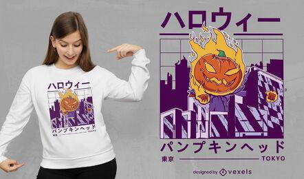 Halloween pumpkin in vaporwave city t-shirt design