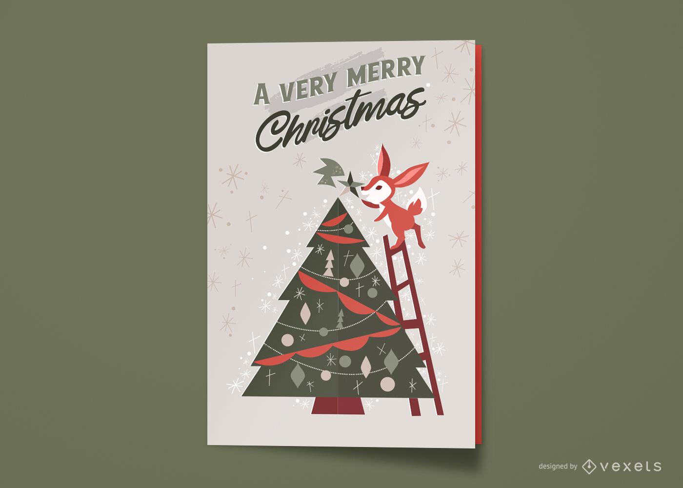 Tarjeta de felicitación navideña feliz árbol de Navidad