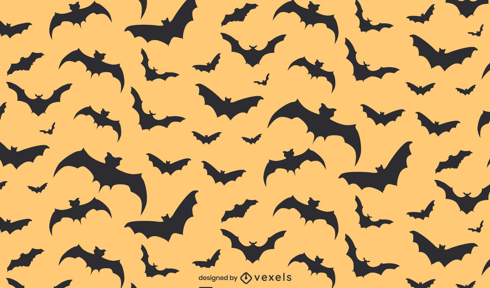 Padrão plano de Halloween de morcegos