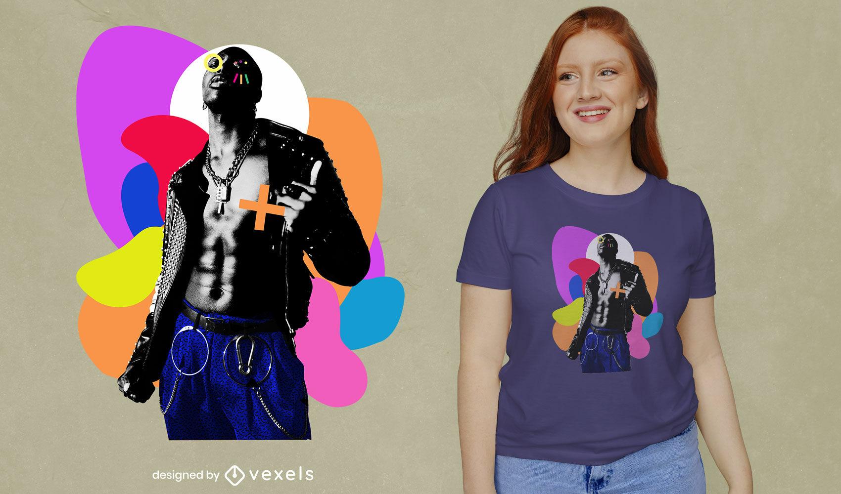 Homem punk e formas geométricas psd t-shirt design