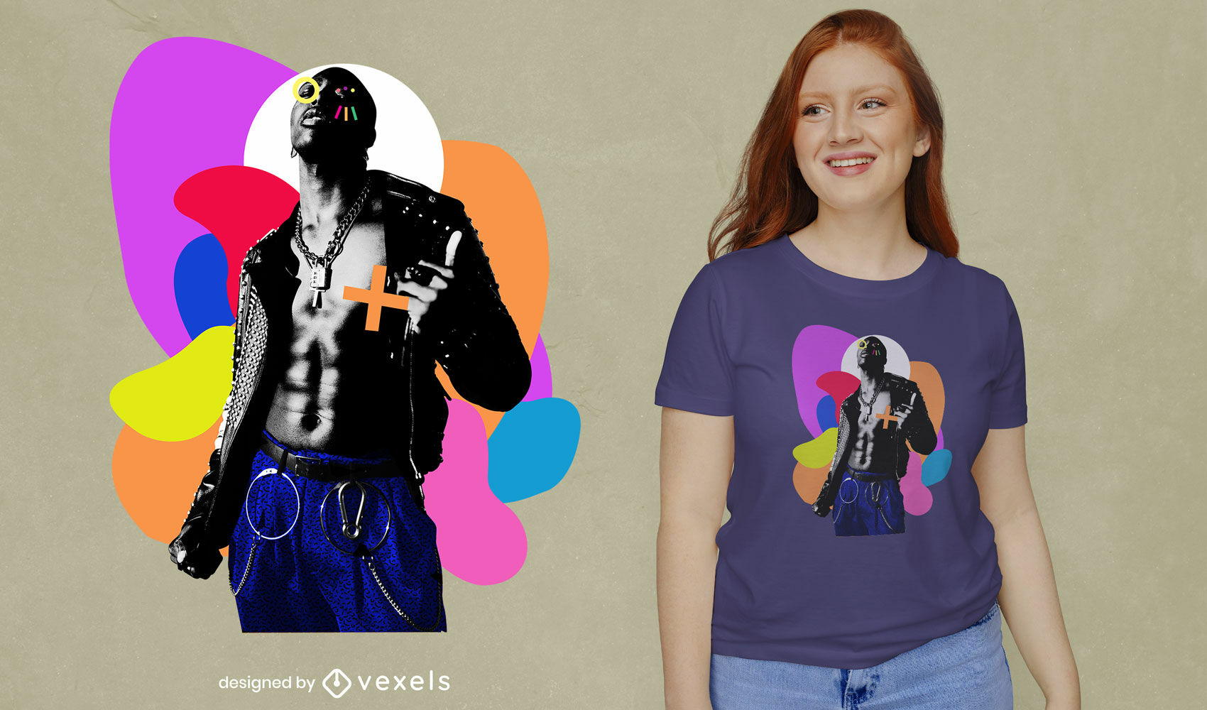 Punk-Mann und geometrische Formen PSD-T-Shirt-Design