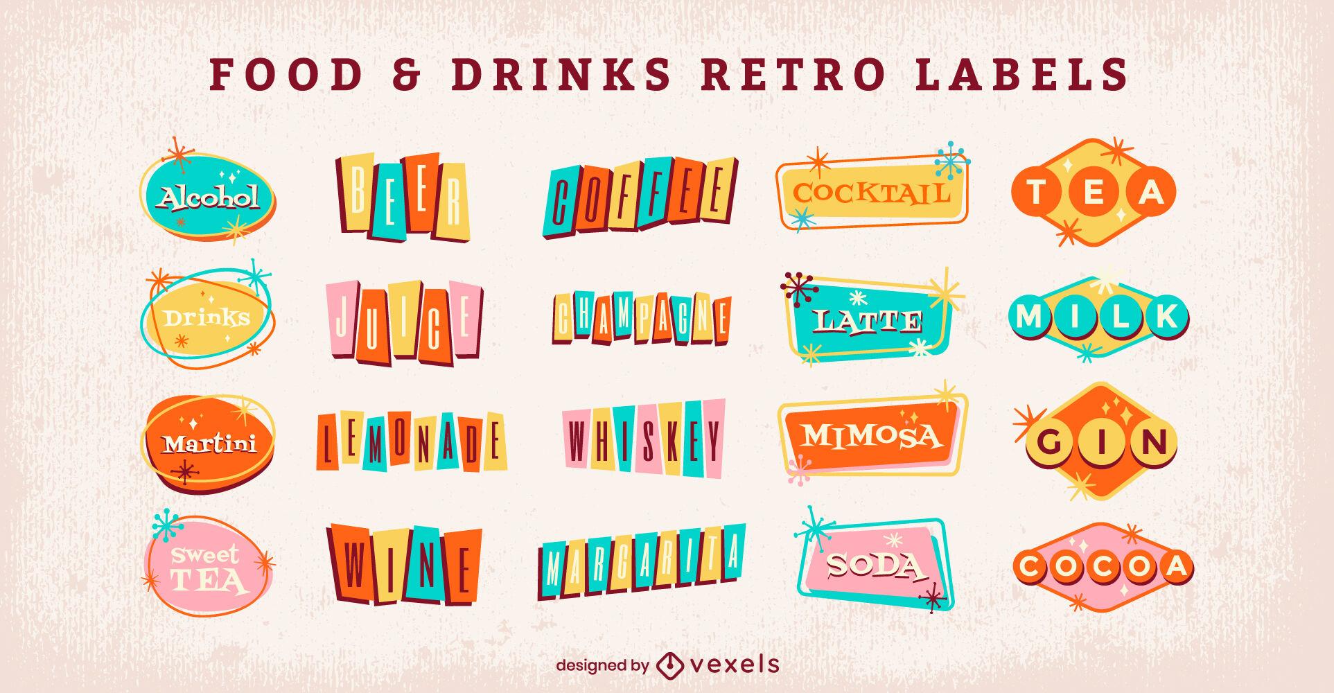 Conjunto de etiquetas retro de bebidas alcohólicas de los años 60.