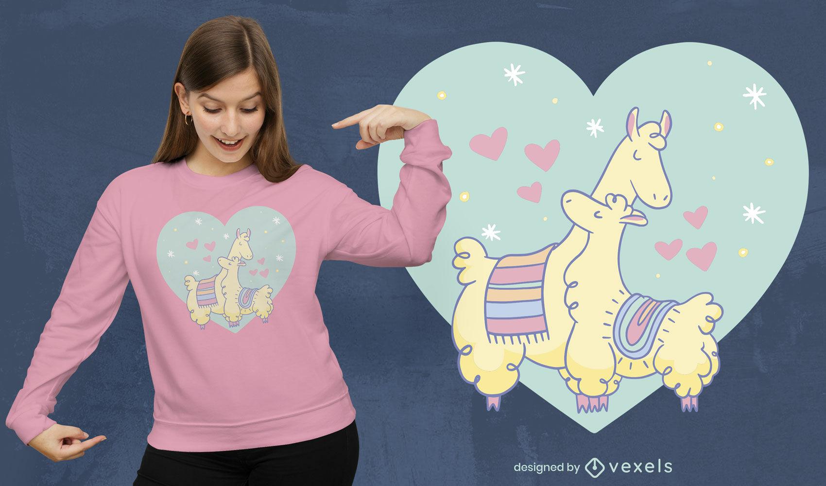 Diseño de camiseta de amor familiar de animales de alpaca.
