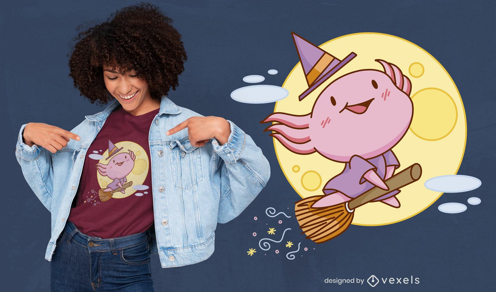 Desenho de camiseta fofa do dia das bruxas com bruxa axolotl