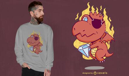 Pirate dragon cartoon with diamond t-shirt design