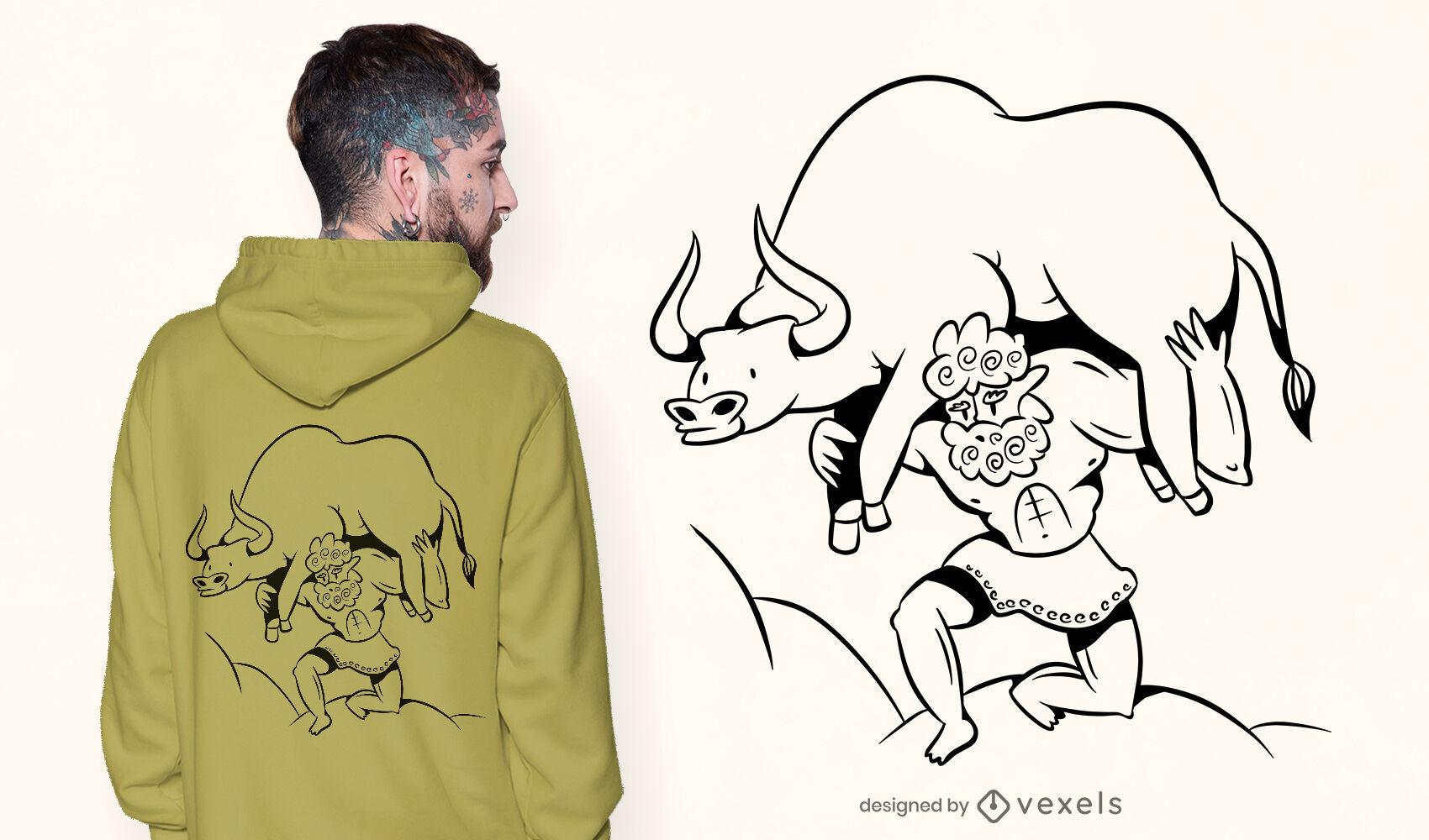 Man carrying bull ancient t-shirt design