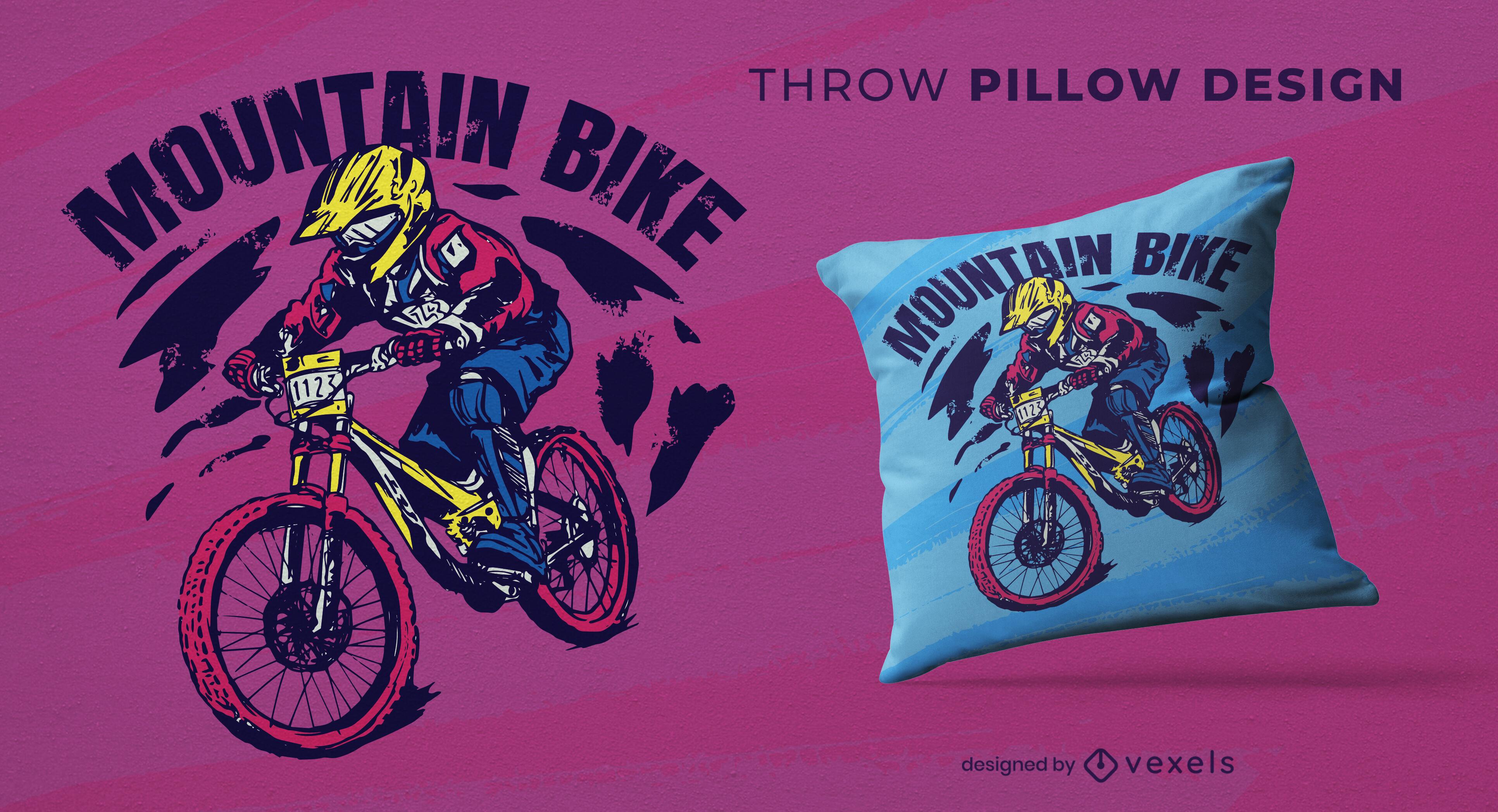 Design de travesseiro lance de bicicleta montanha
