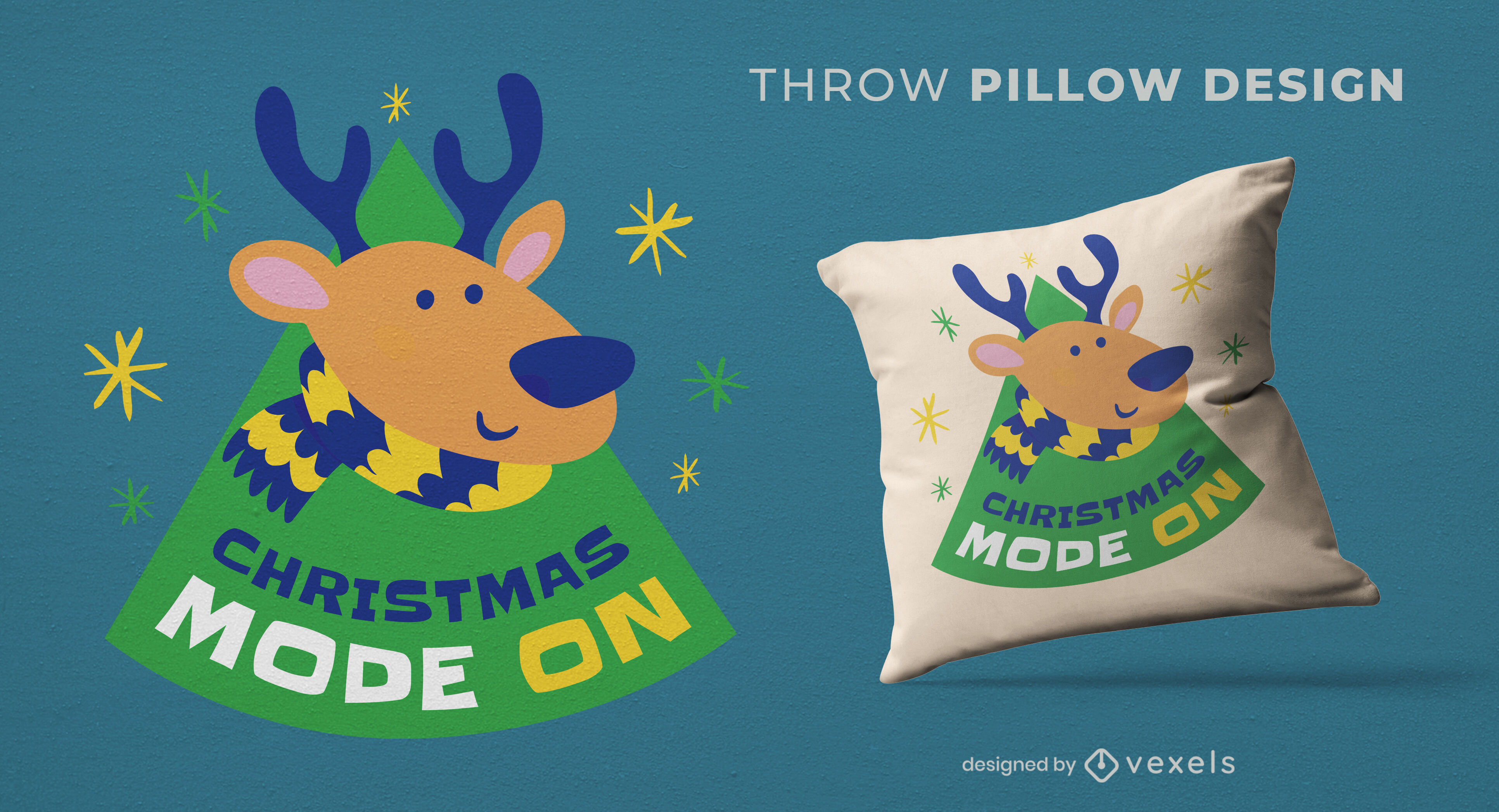 Diseño de almohada de tiro de temporada navideña de renos
