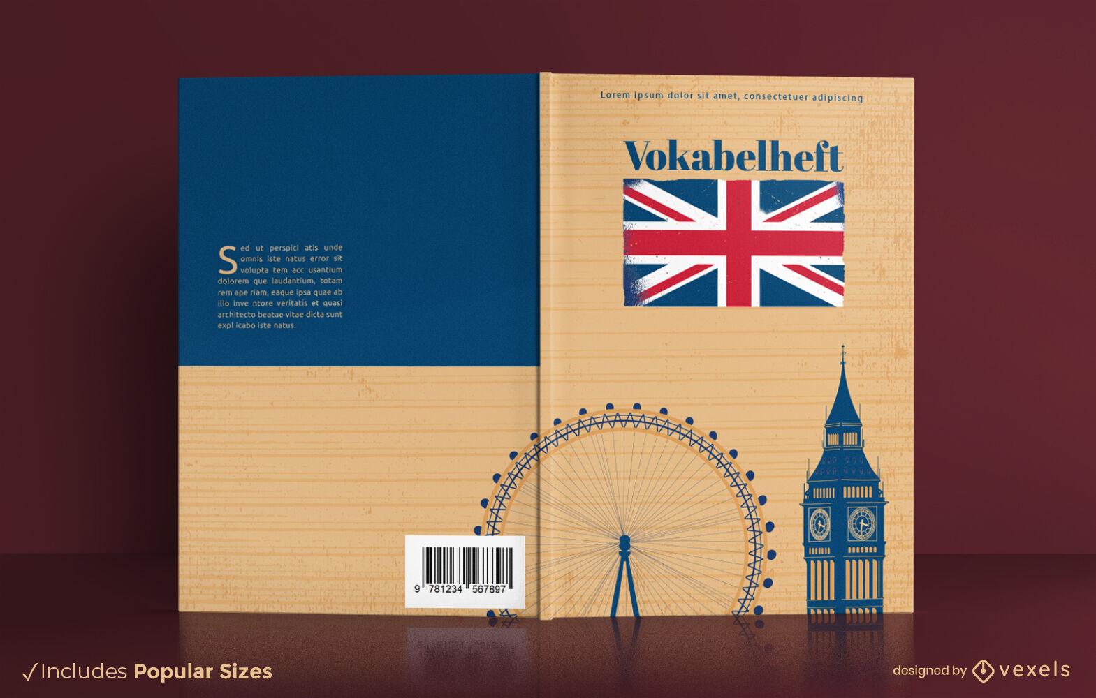 Design da capa do livro dos pontos de referência da Inglaterra em Londres