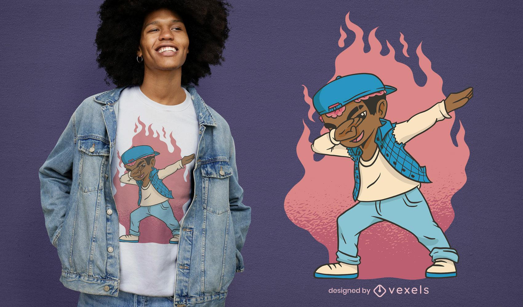 Melanin Boy dabbing t-shirt design