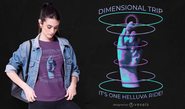 Diseño de camiseta de mano de viaje dimensional psd.
