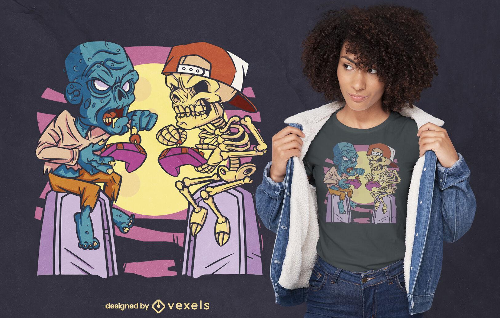 Totenkopf und Zombie-Spieler-Halloween-T-Shirt