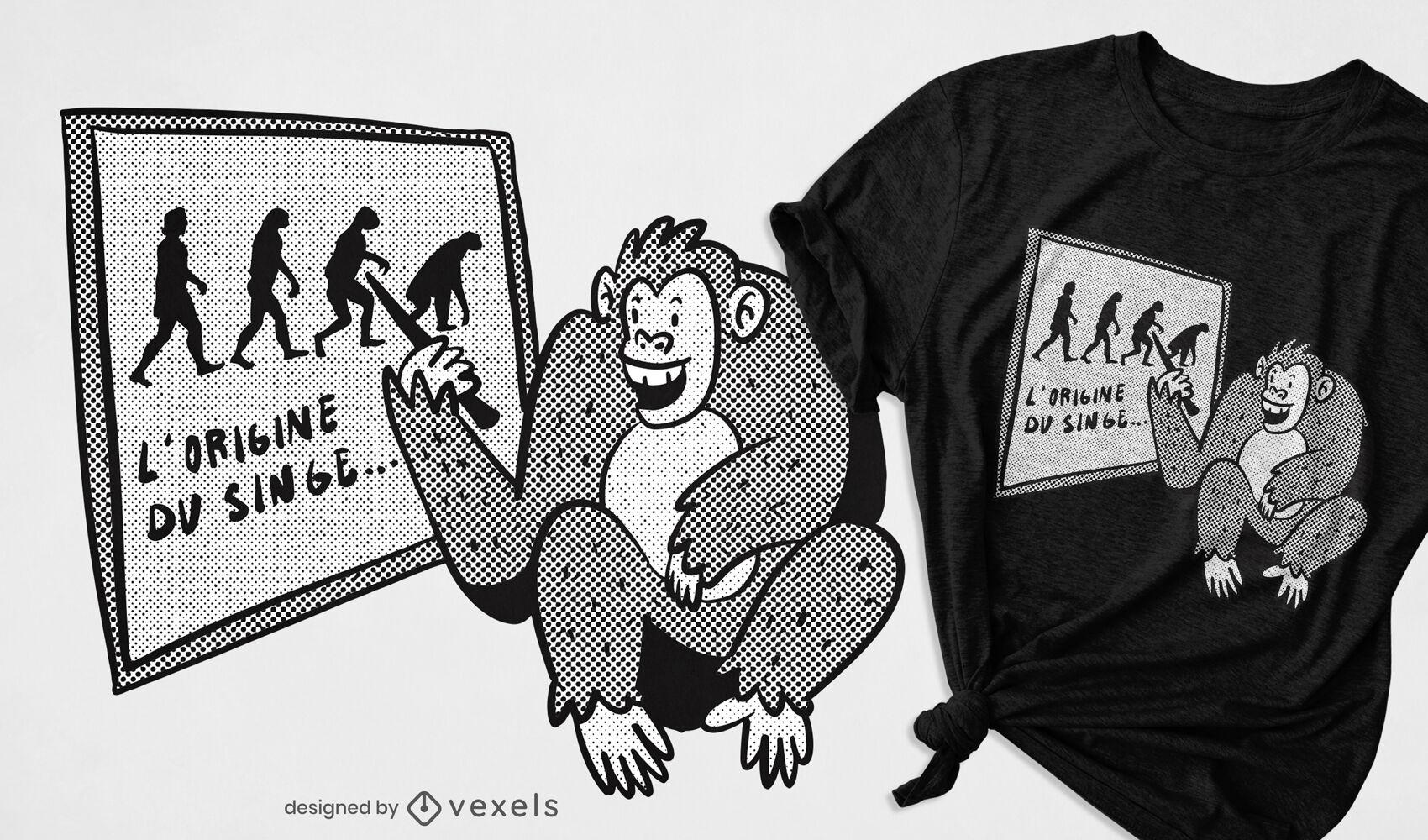 Diseño de camiseta de aula de gráfico de evolución de mono.