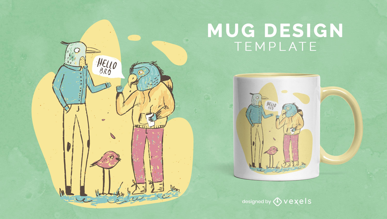 Bird animals conversation characters mug design