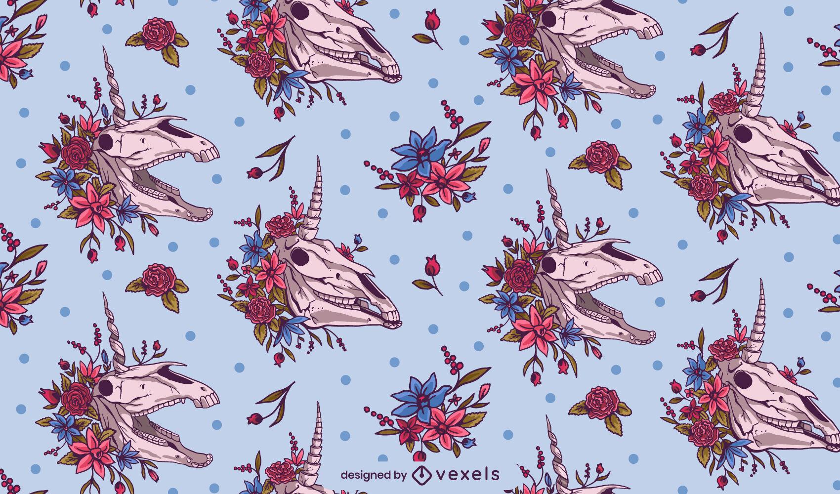 Desenho de padrão floral de skuls de unicórnio