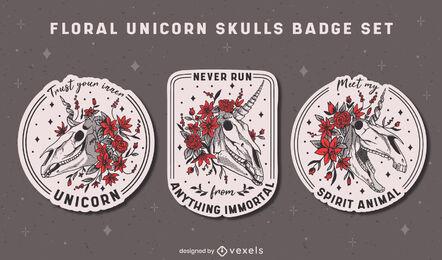 Floral unicorn creature skulls badges set