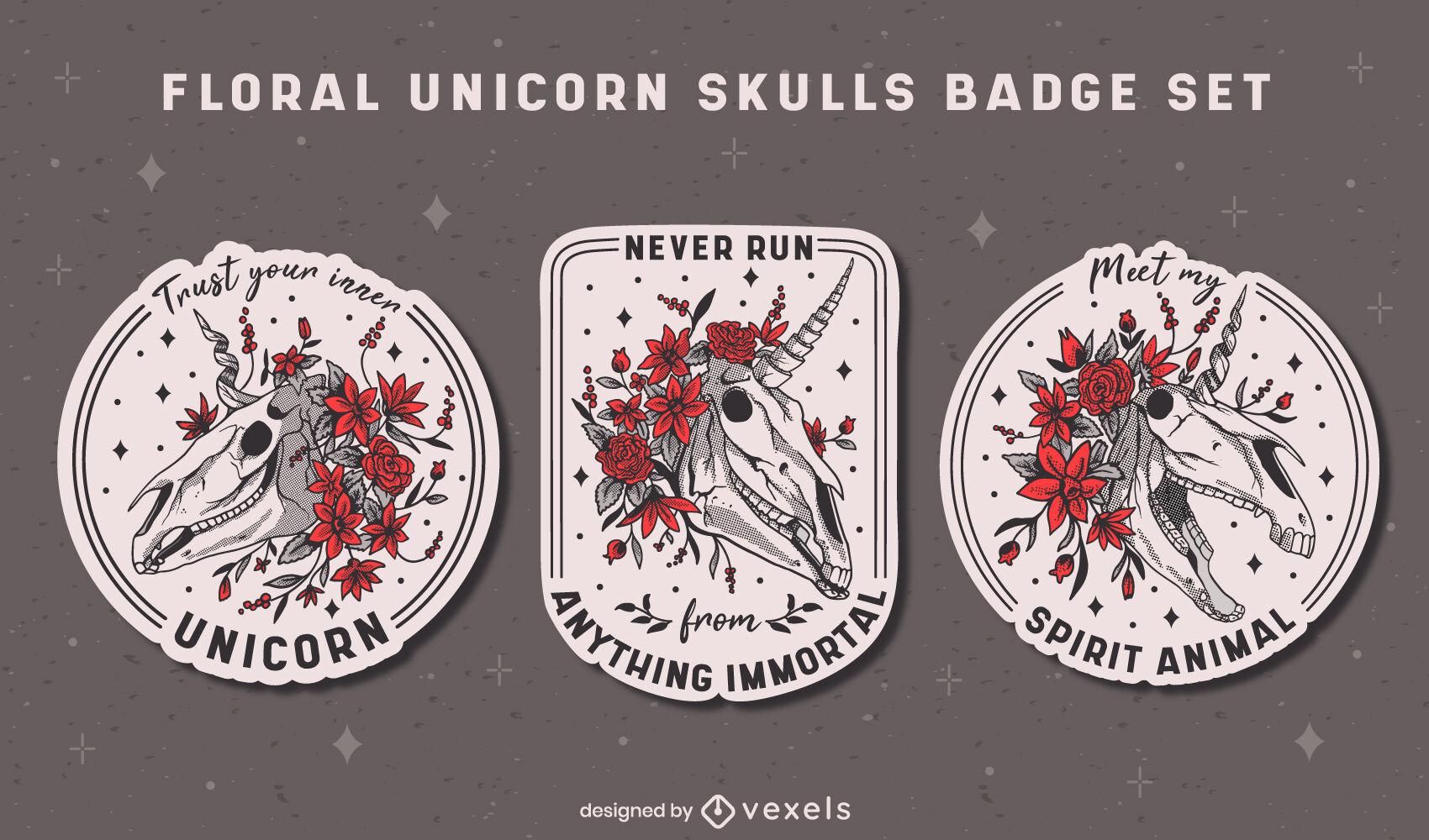 Conjunto de emblemas de crânios de criaturas de unicórnio floral