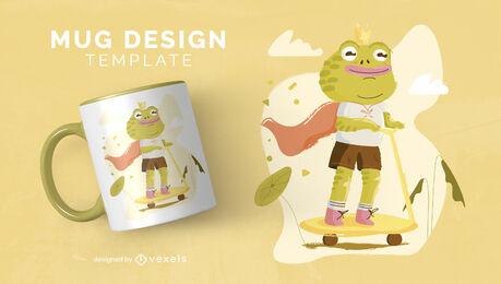 Happy frog animal child king mug template
