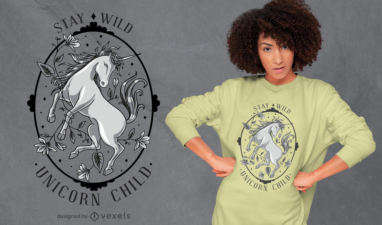 Design fixe de t-shirt de unicórnio selvagem