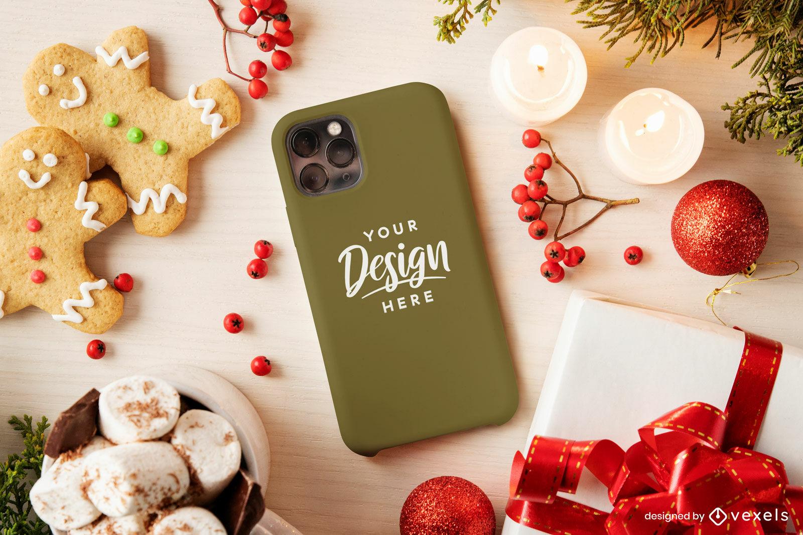 Maquete de capa de telefone verde de Natal