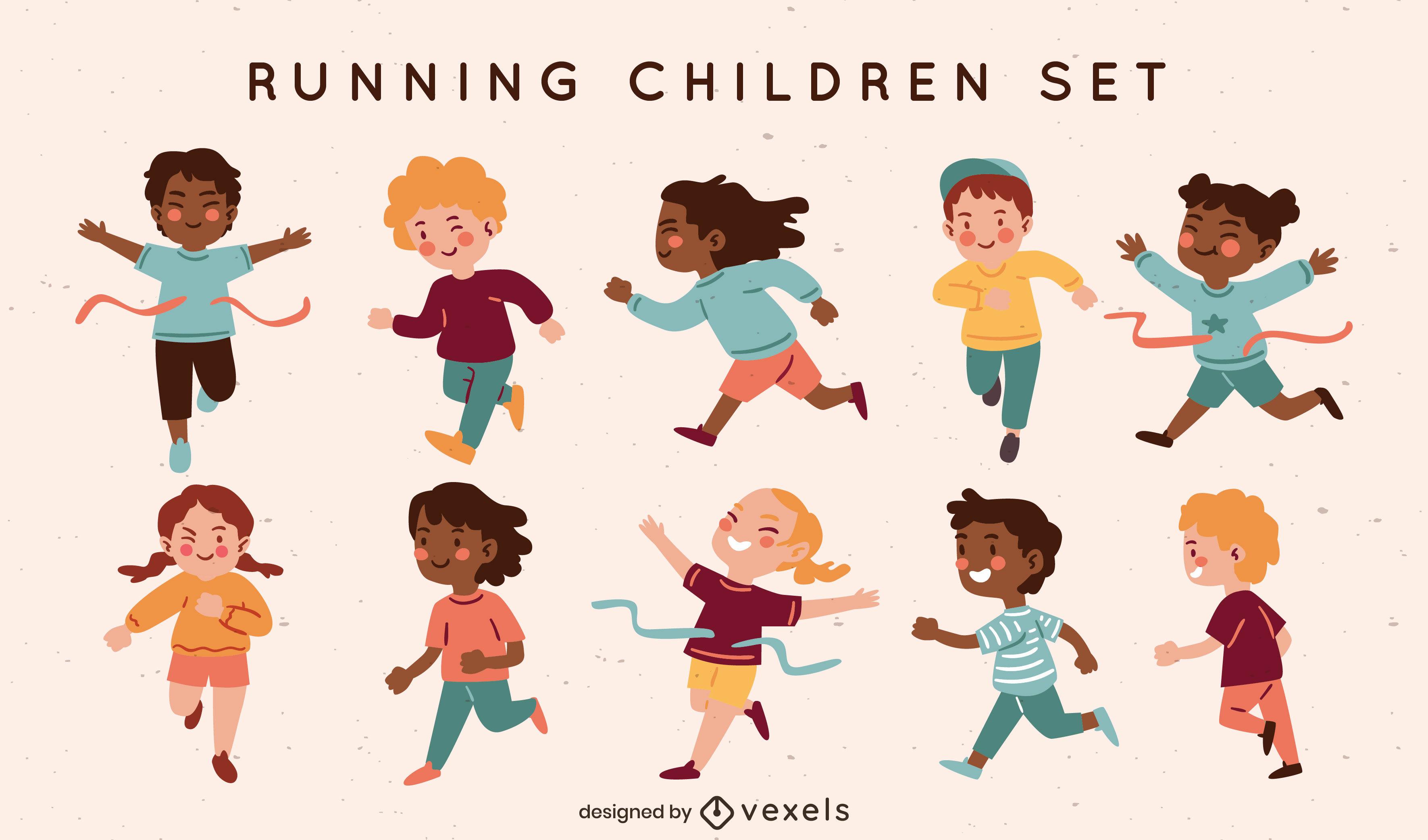 Personagens de crianças felizes correndo em conjunto plano