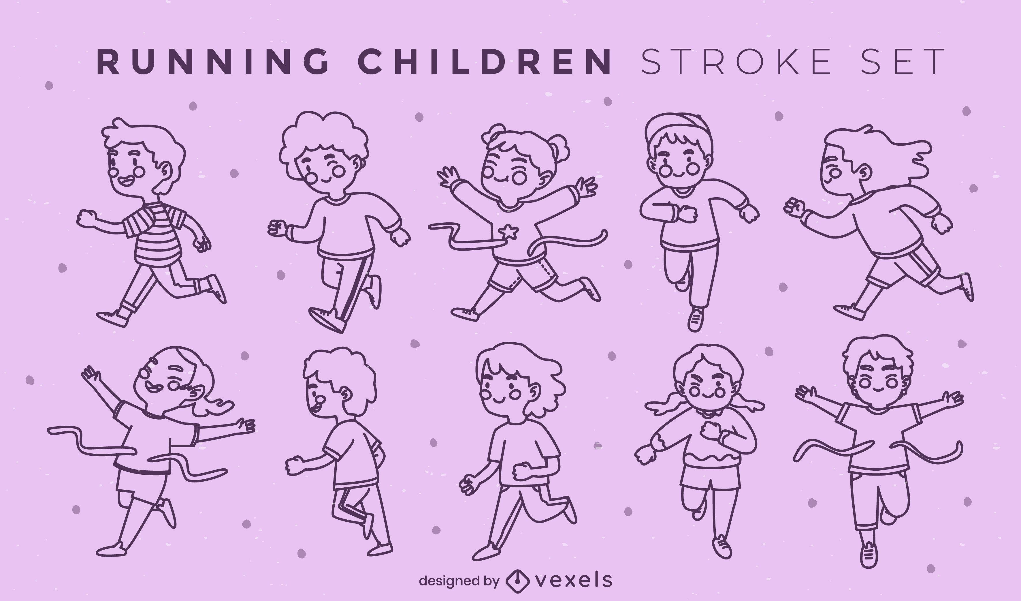 Personajes infantiles corriendo conjunto de trazos.