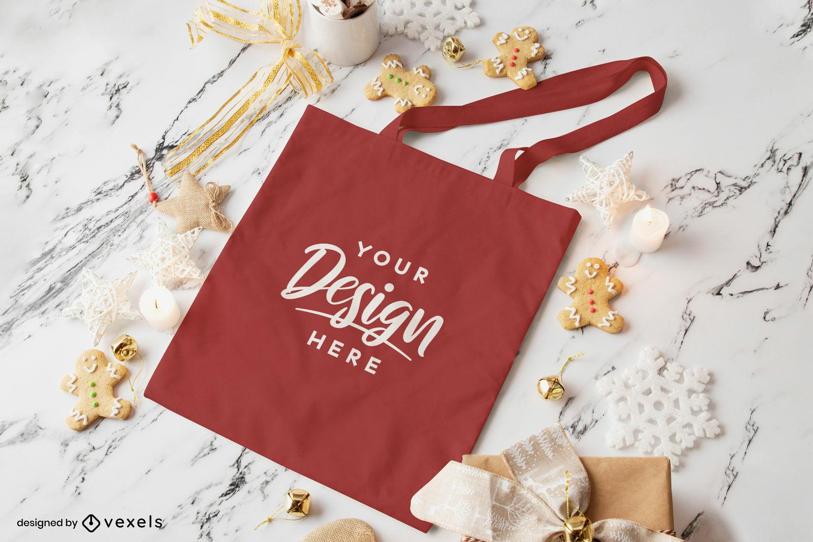 Rote Einkaufstasche Weihnachtsmodell