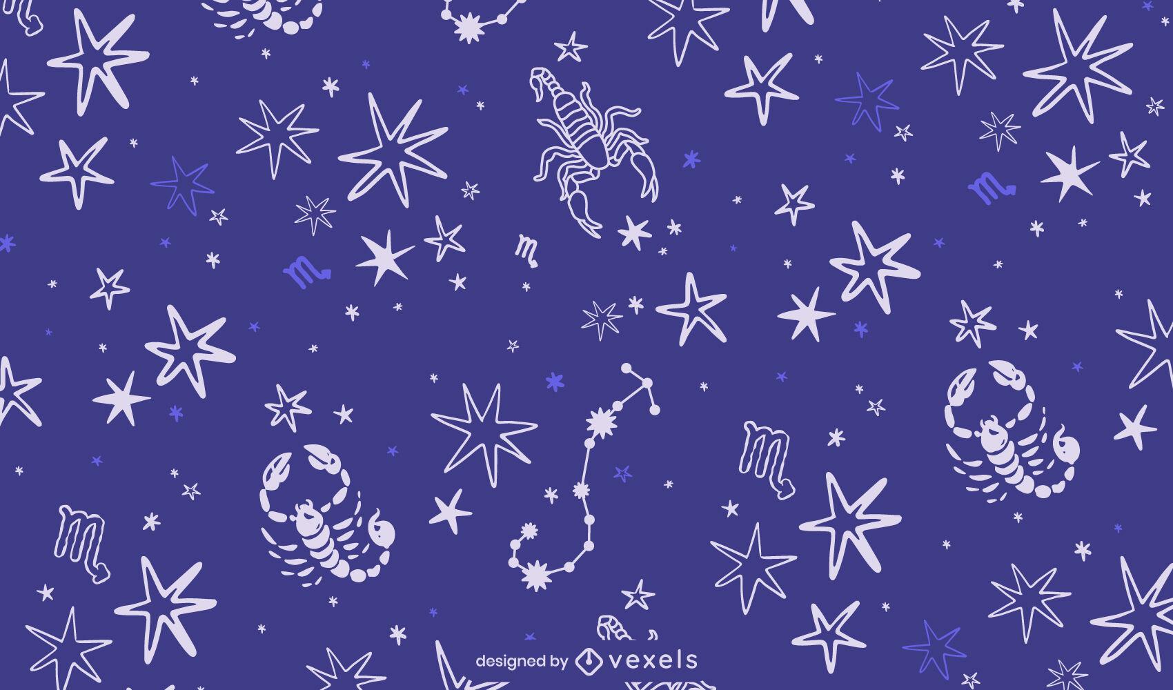 Patrón de signo del zodiaco de la constelación de Escorpio