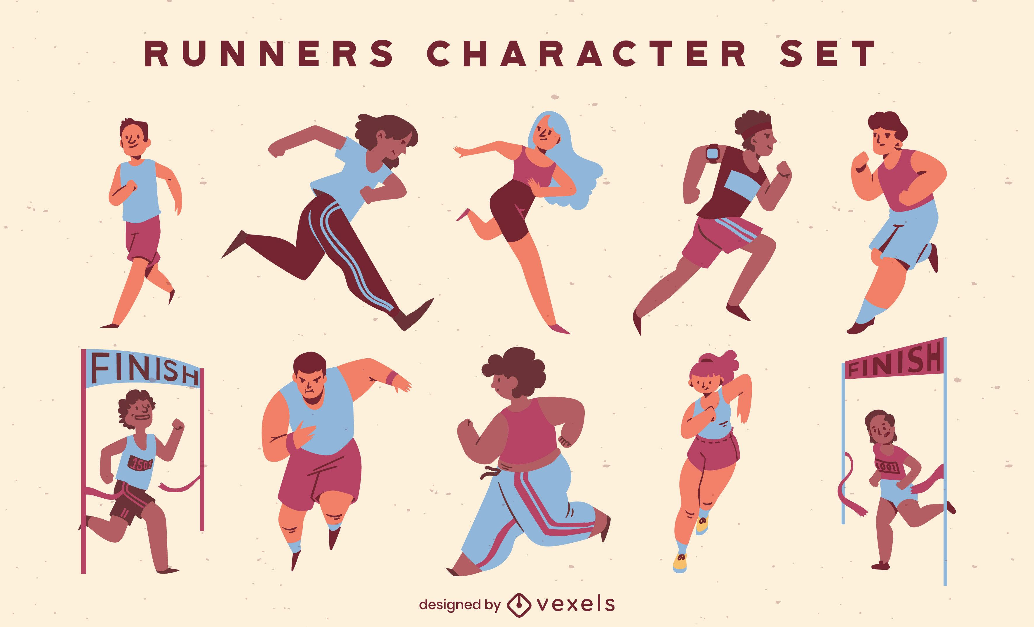 Conjunto de caracteres de competencia de pista de atletismo de personas.