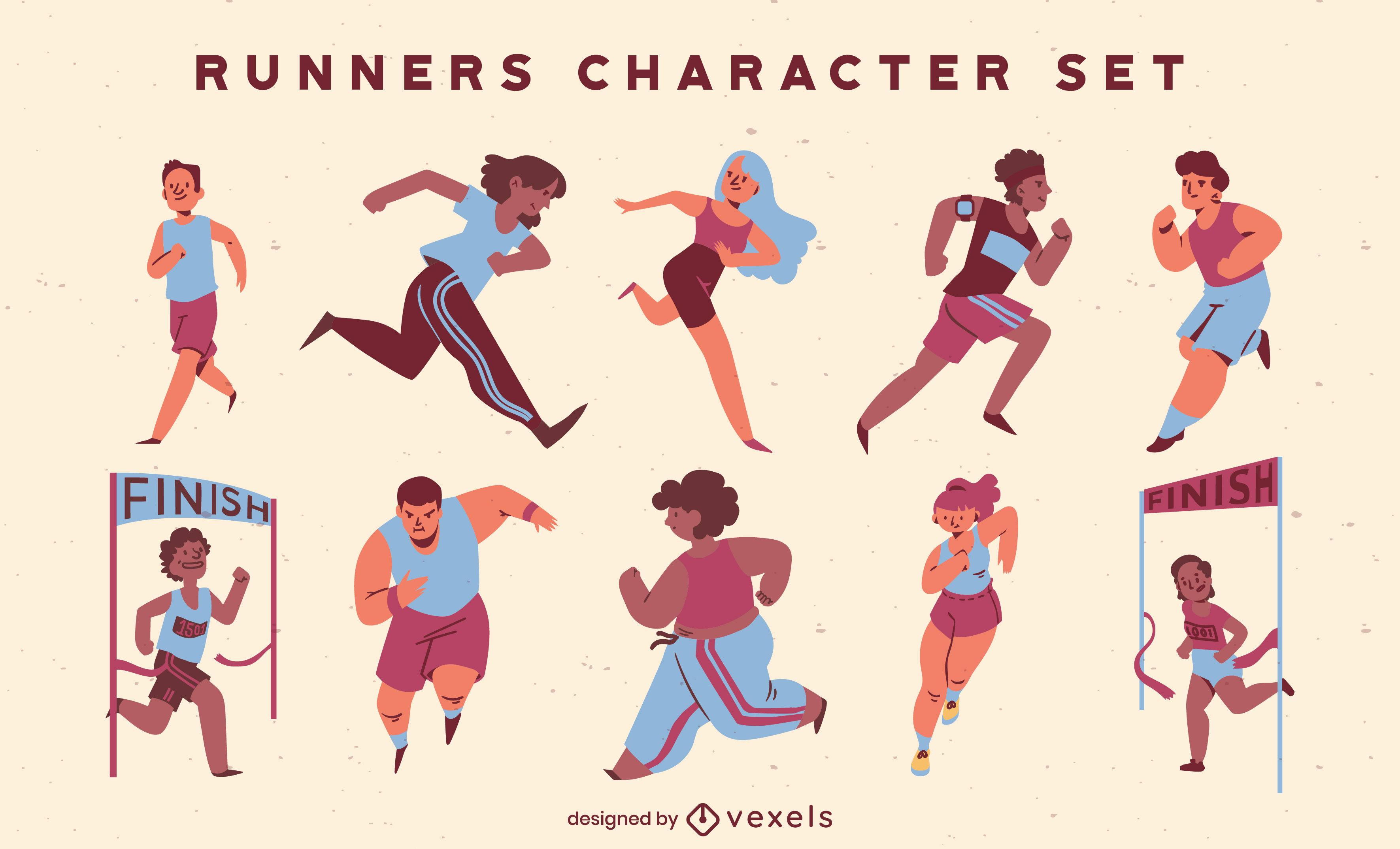 People running track competition character set