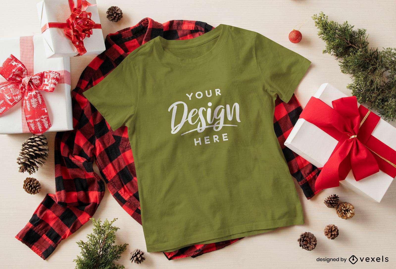 Christmas green t-shirt mockup over shirt