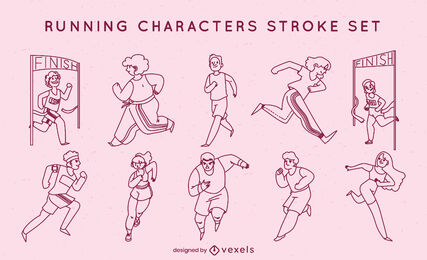 People running track stroke character set