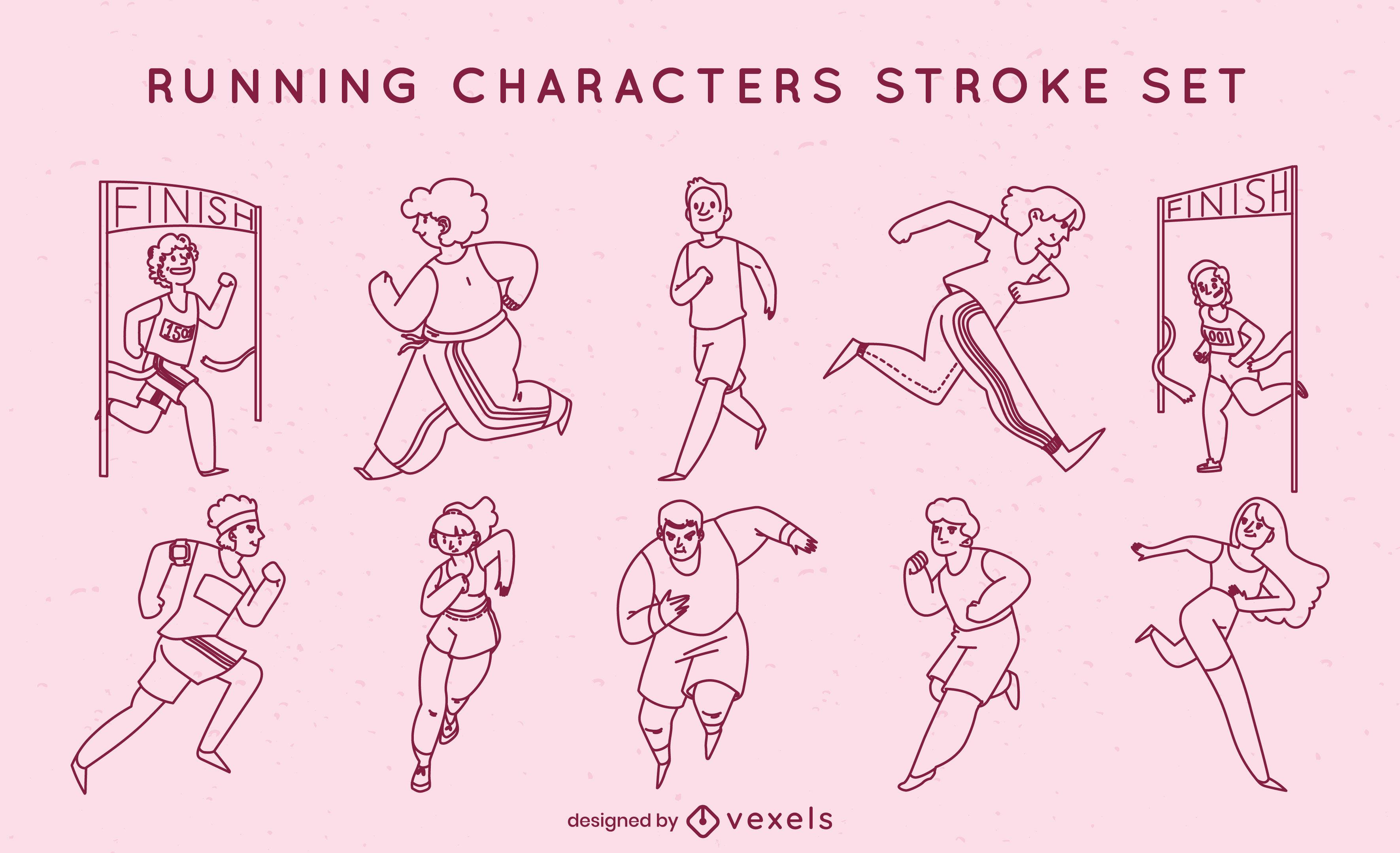 Pessoas correndo conjunto de caracteres de traçado