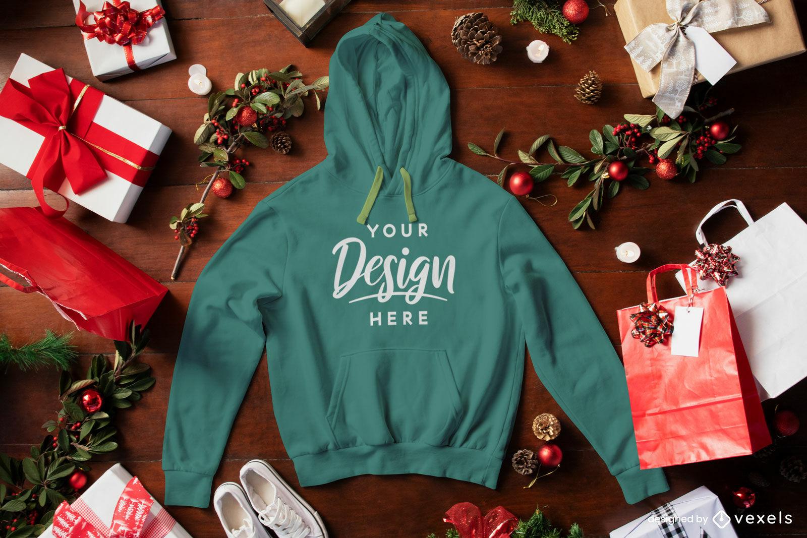 Green hoodie christmas mockup