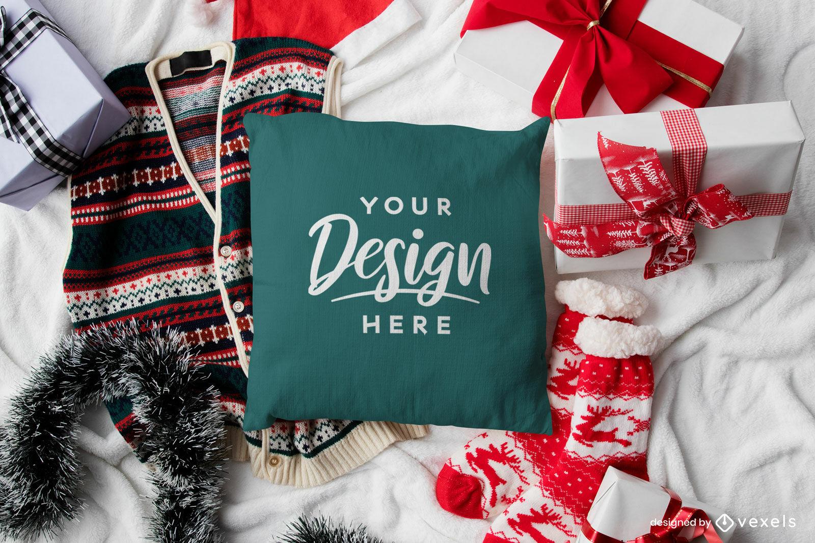 Maqueta de navidad de almohada verde