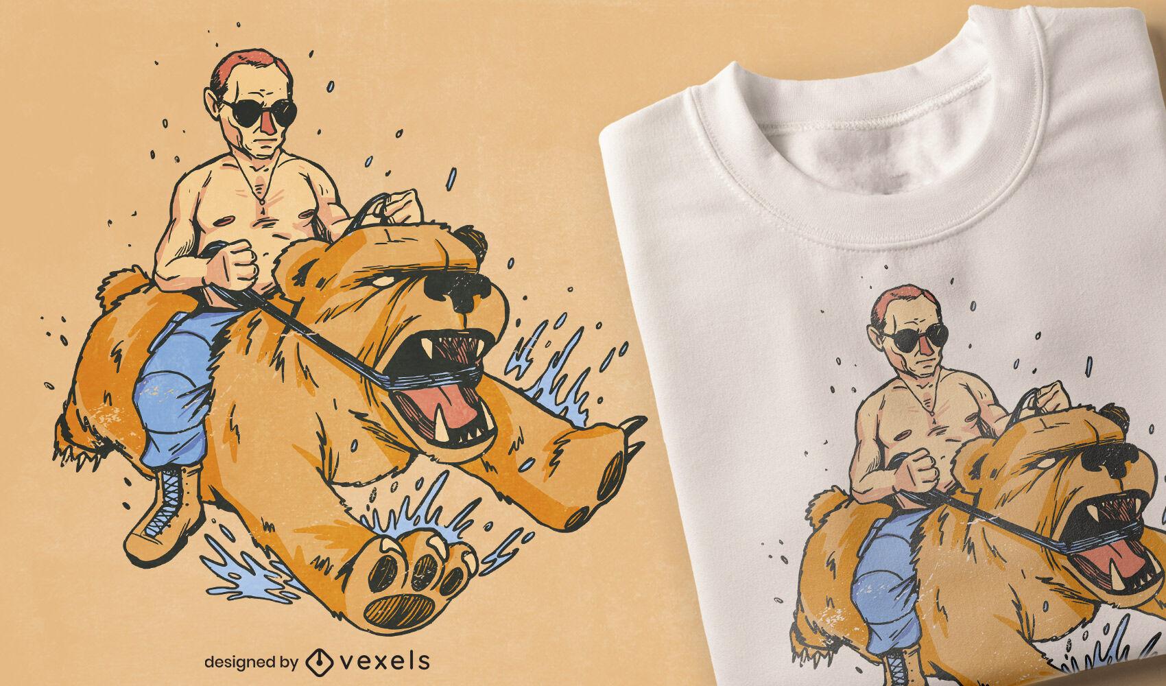 Vladimir Putin en el diseño de la camiseta del meme del oso