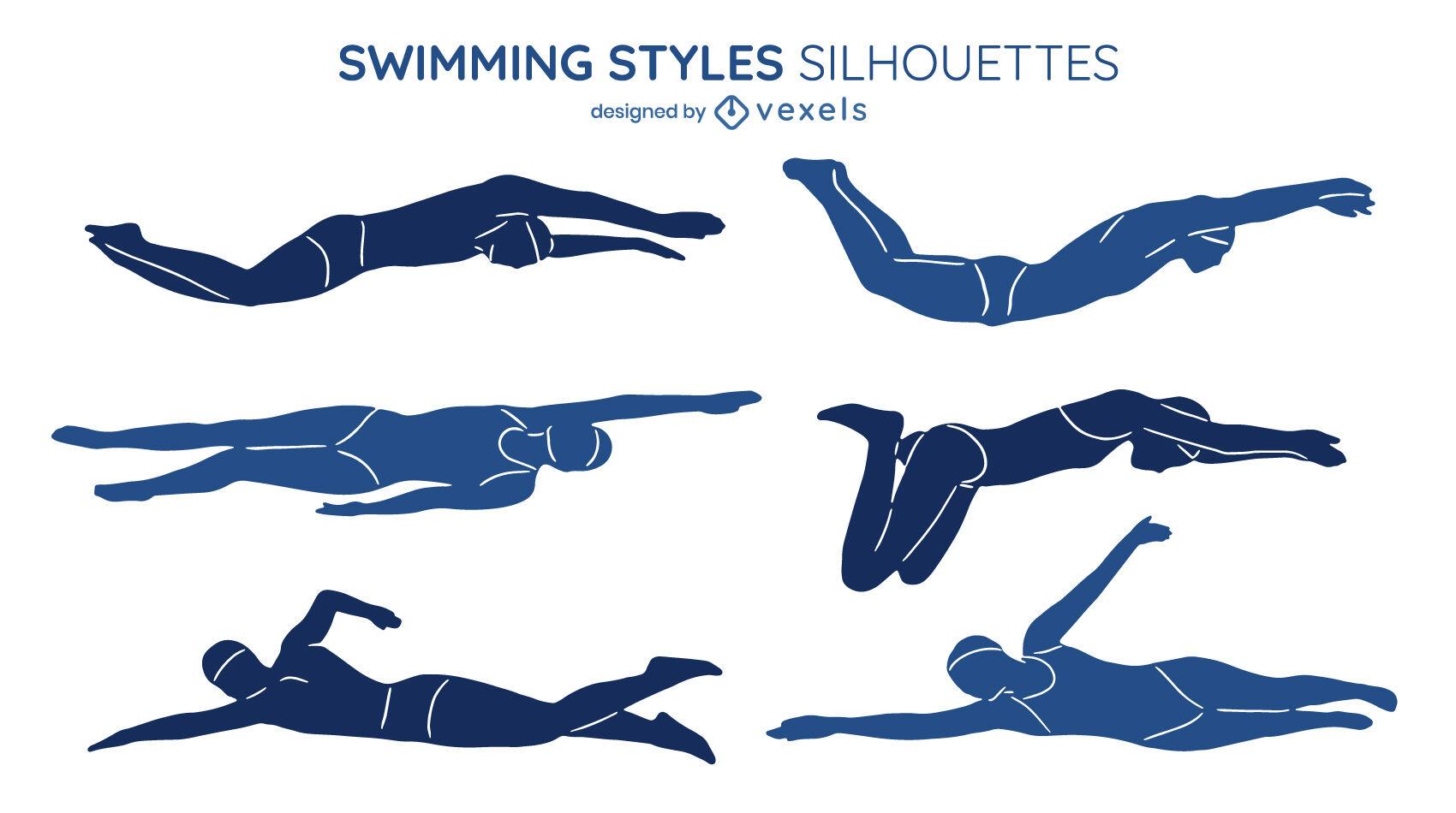 Conjunto de ilustrações de estilos de natação recortadas