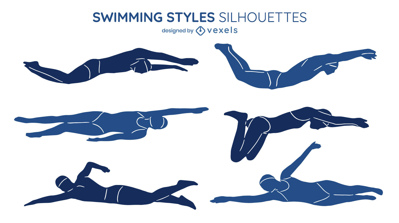 Swimming styles illustrations set cut out