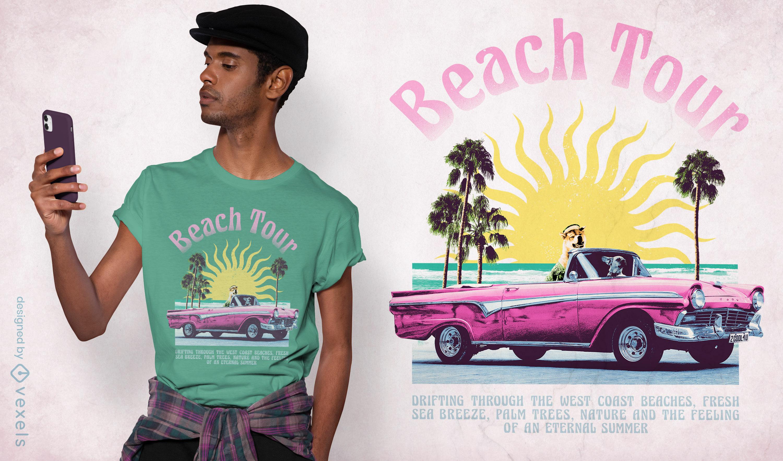 Beach tour car trip collage psd t-shirt design