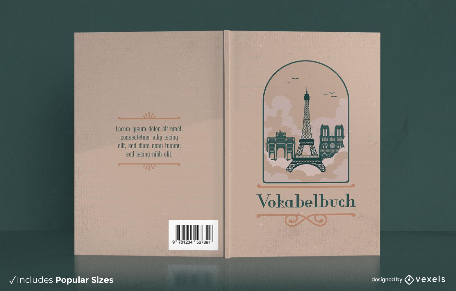 Design da capa do livro dos pontos de referência de Paris, França