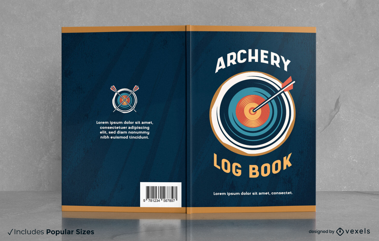 Archery arrow in target book cover design