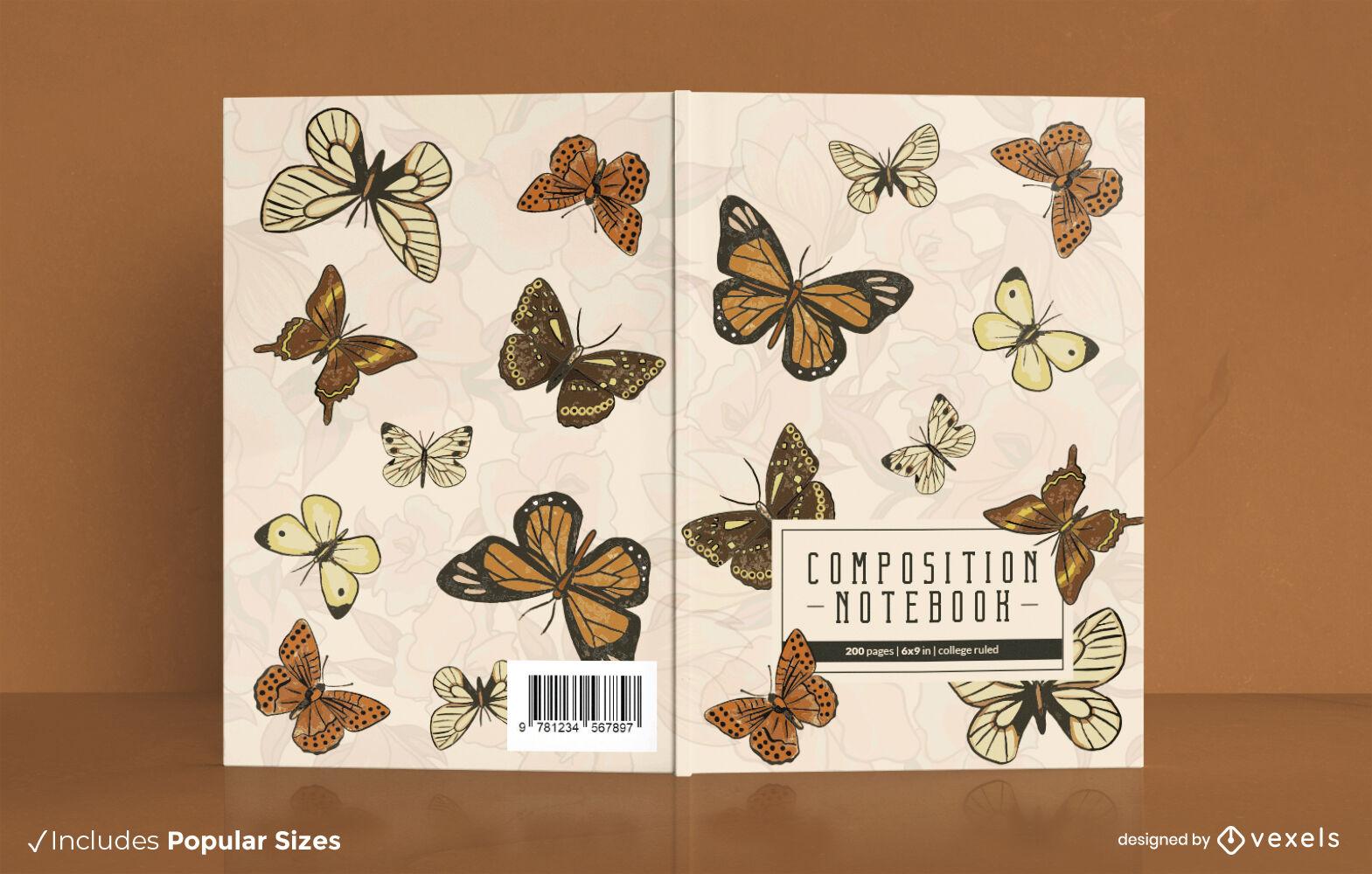 Design de capa de caderno de borboletas vintage