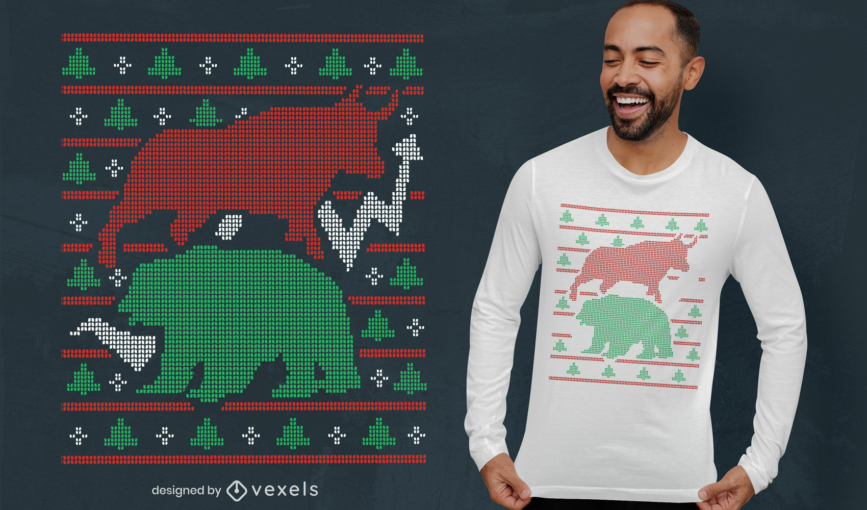 Animais do mercado de ações design de t-shirt de suéter feio
