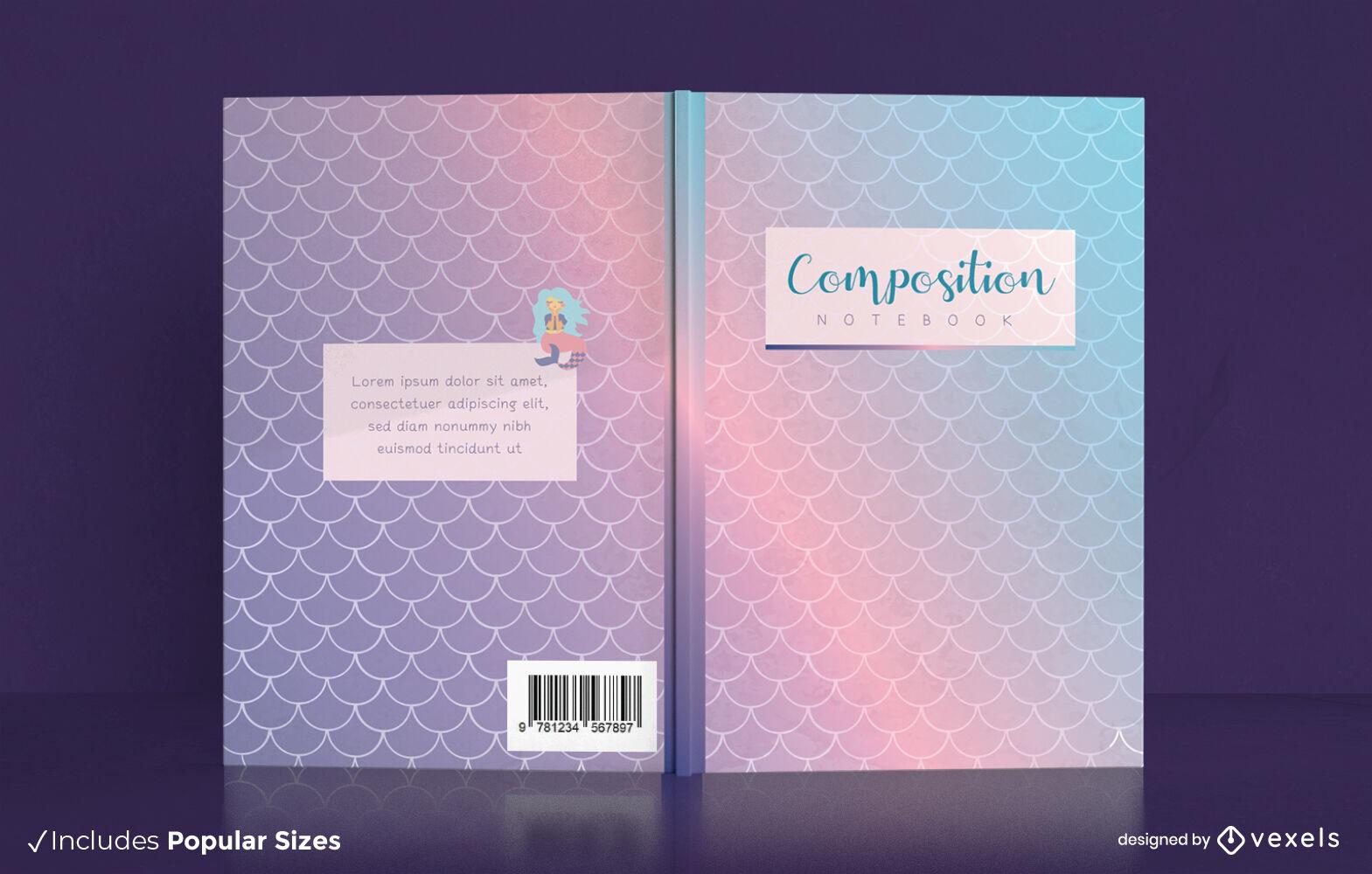 Diseño de portada de libro holográfico de cola de sirena