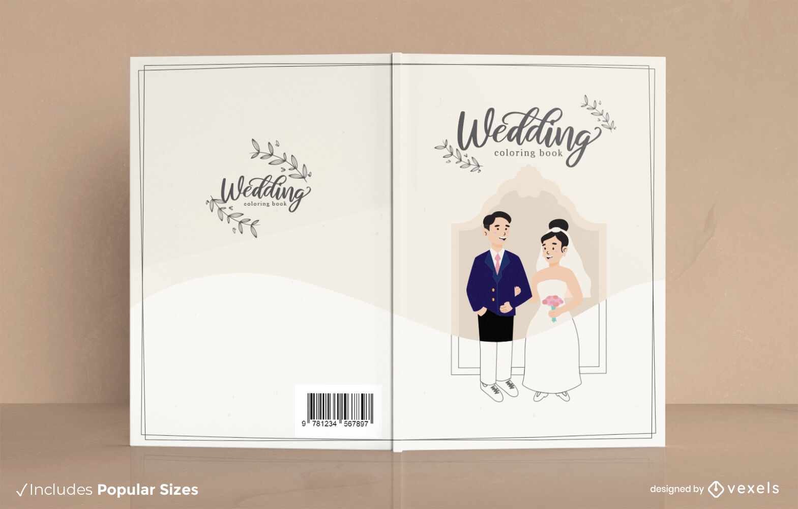 Wedding groom and bride book cover design